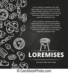 hamburgers, conception, tableau, barbecue, affiche