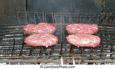 Hamburgers Cutlets Grilling on Grid