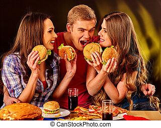 hamburgers., gens, groupe, tenue, grand