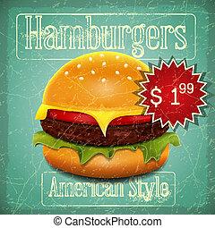 Hamburgers Menu - Big Hamburger with Beef, Lettuce, Cheese...