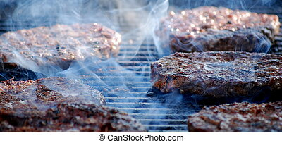 Hamburgers on grill.