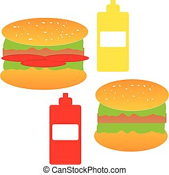 Hamburgers on white background