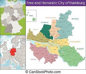 hamburgo, libre, hanseatic, ciudad