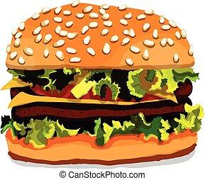 hamburguesa, aislado, mano, plano de fondo, dibujado, blanco