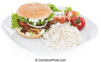 hamburguesa, arroz blanco, kebab