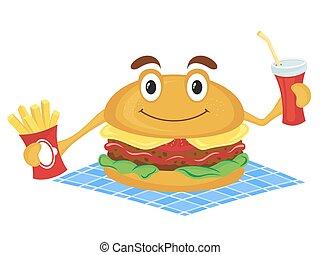 hamburguesa, asideros, un, papas fritas, y, bebida