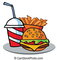 hamburguesa, bebida, y, papas fritas