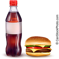 hamburguesa, botella, cola