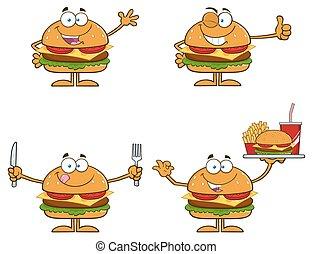 hamburguesa, caracteres, colección, 1.