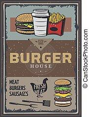 hamburguesa, casa, coloreado, cartel, vendimia
