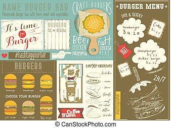 hamburguesa, casa, plantilla, menú