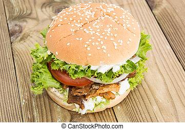 hamburguesa, casero, kebab