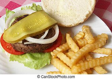 hamburguesa, comida, barbacoa