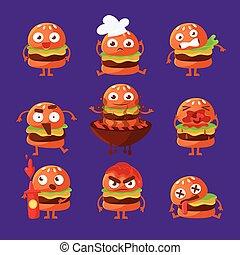 hamburguesa, comida rápida, emparedado, caricatura, humanized, carácter, emoji, pegatina, conjunto, de, vector, ilustraciones