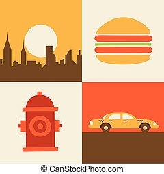 hamburguesa, conjunto, estados unidos de américa, coche, ilustración, vector, nueva york, icono