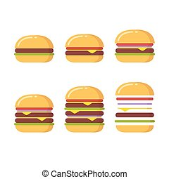 hamburguesa, conjunto, iconos