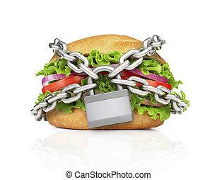 hamburguesa, forzado, con, chain., elegir, sano, comida.