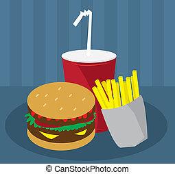 hamburguesa, fríe, y, bebida