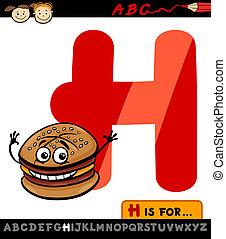 hamburguesa, h, ilustración, carta, sombrero, caricatura
