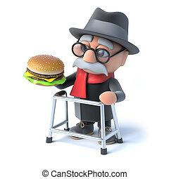 hamburguesa, hombre, viejo, come, 3d