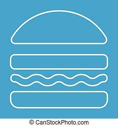 hamburguesa, línea, delgado, icono