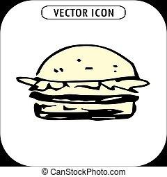 hamburguesa, mano, dibujado, icono