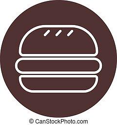 hamburguesa, marrón, circle., ilustración, clásico, signo., ...