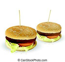 hamburguesa, meat., beef., ilustración, lechuga, vector, sabroso, asó a la parrilla tomate