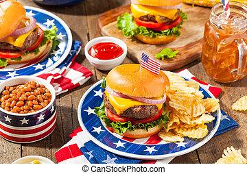 hamburguesa, monumento conmemorativo, picnic, día, casero