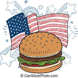 hamburguesa, norteamericano, bosquejo
