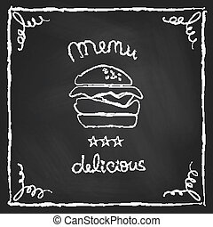 hamburguesa, pizarra, menú