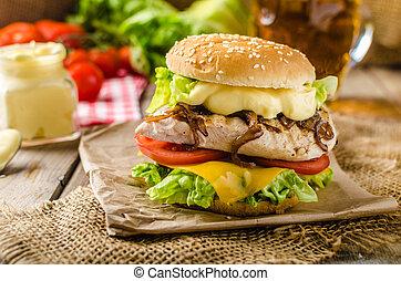 hamburguesa, pollo, cerveza fría