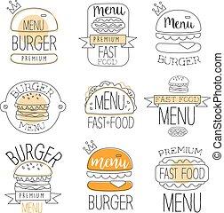 hamburguesa, promo, etiquetas, colección, alimento, calle