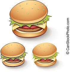 hamburguesa, sabroso, caricatura