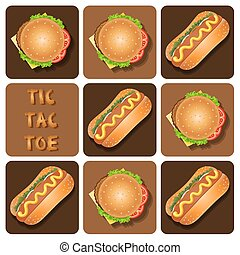 hamburguesa, tic - tac - dedo del pie, perro, caliente