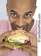 hamburguesa, viejo, comida, hombre, medio