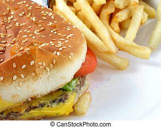 hamburguesa, y, fríe