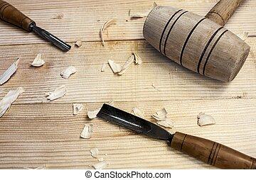 hamer, beitel, gereedschap, tafel, achtergrond, schrijnwerker, hout