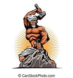 hamer, beitel, retro, beeldhouwer