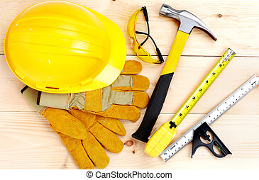hamer, meetlatje, tools.