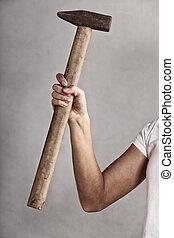 hamer, werktuig, in, hand, van, vrouwlijk, arbeider