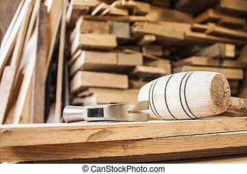 hamers, op, meubelmakerij