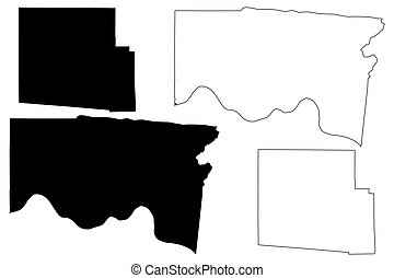 Hamilton and Hardin County, Ohio State (U.S. county, United States of America, USA, U.S., US) map vector illustration, scribble sketch map