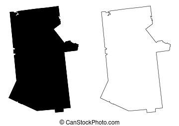 Hamilton County, New York State (U.S. county, United States of America, USA, U.S., US) map vector illustration, scribble sketch Hamilton map