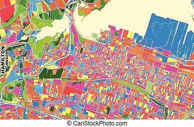 Hamilton, Ontario, Canada, colorful vector map