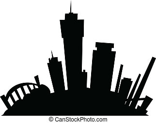 hamilton, skyline, ontário, caricatura
