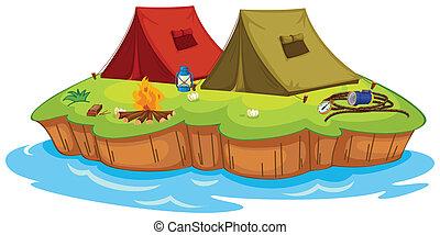hamis sátortábor, képben látható, egy, sziget