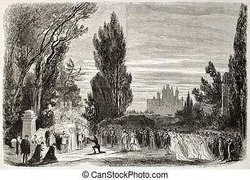 Hamlet, act V, scene IV - Old illustration of Hamlet...