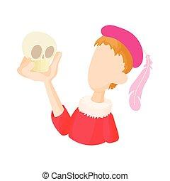 Hamlet actor icon in cartoon style