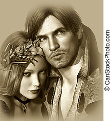Hamlet and Ophelia - portrait of a classic love pair in...